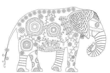 Dibujado A Mano Ornamental Colorido Elefante De Dibujos Animados ...