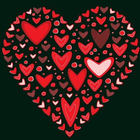 Love concept of hearts in the shape of a heart