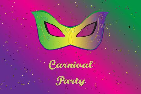 Picture ready for use in carnival thematic. Mask on vibrant background with confetti Illustration