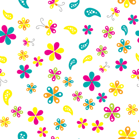 Seamless pattern with beautiful flowers on white background