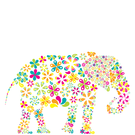 Concept of flowers in the shape of a elephant.