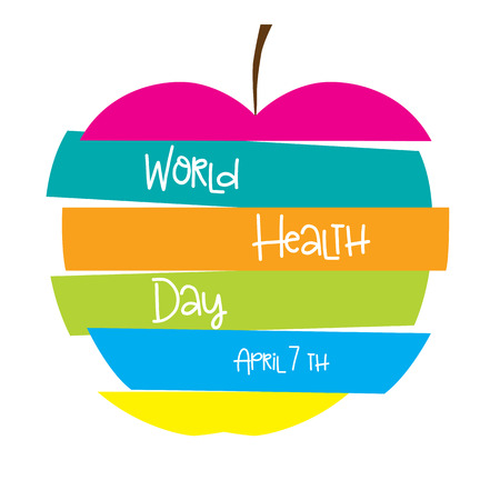 Colorful apple with text. Illustration