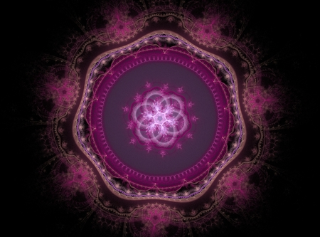 Beautiful abstract fractal pink flower