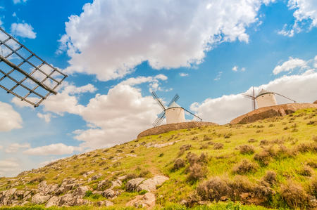 Old windmills on the hill Stock Photo