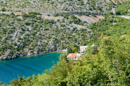 transparent blue sea in Istria, Croatian coast. Aerial view Stock Photo