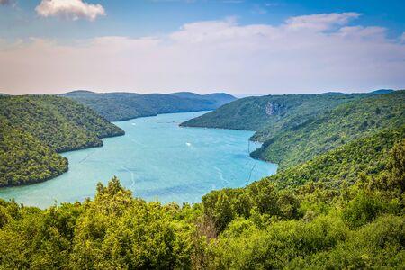 Limski Canal also called Limski Fjord in Istria near Rovinj. Adriatic Sea, Croatia. Stock fotó