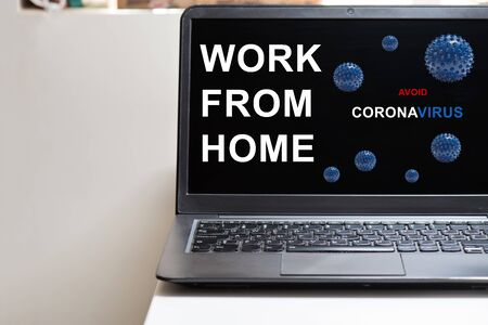 Black notebook and microscope virus close up. Coronavirus concept. Work from home concept