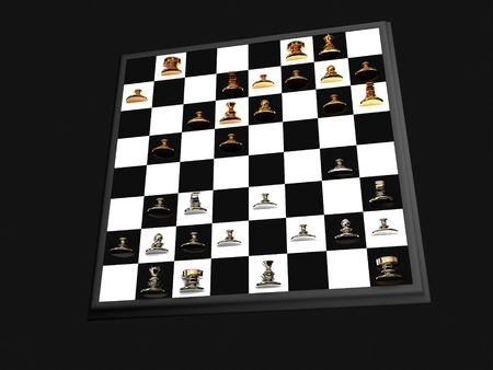Chess board on black background photo