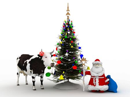 Santa Claus with Cristmas tree and Cow