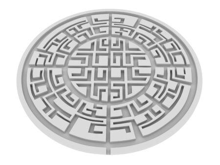 Round labyrinth isolated on white background photo