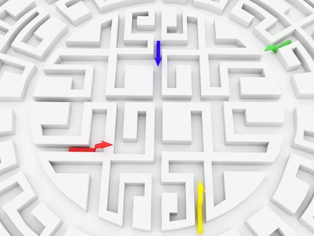 White Round labyrinth with 4 color arrows photo