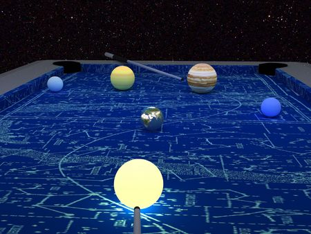 billiard with planets on star background photo