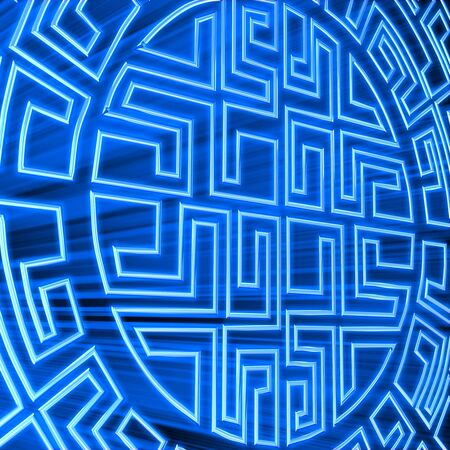 3d render round labyrinth with blue light photo