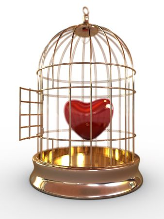 One red heart in golden cage isolated on white background