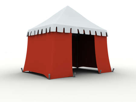 bivouac: Red marquee isolated on white background Stock Photo