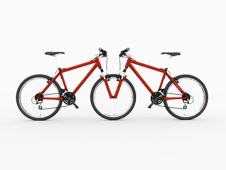 emptiness: Red Bicycle reflexion in emptiness. Isolated on white background