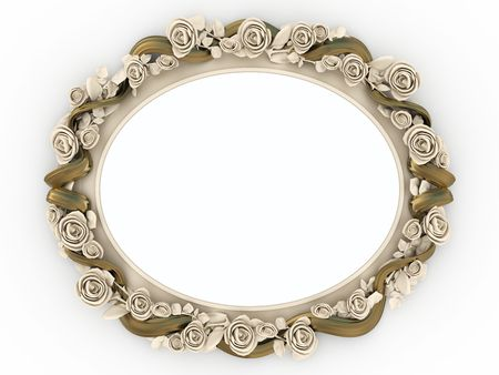 Decorative wooden mirror isolated on white background. photo