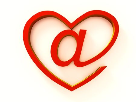under heart: The badge of e-mail stylised under heart