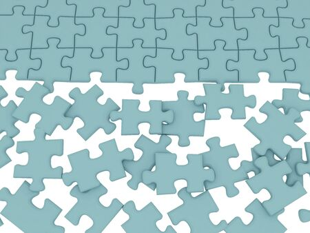 The divided colour parts of a puzzle Stock Photo