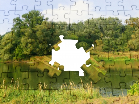 nature picture: Puzzle with a nature picture. Lake and trees.