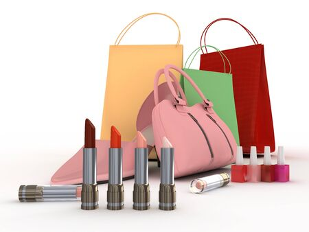 Pink shoes and handbag with colour lipstick and varnish