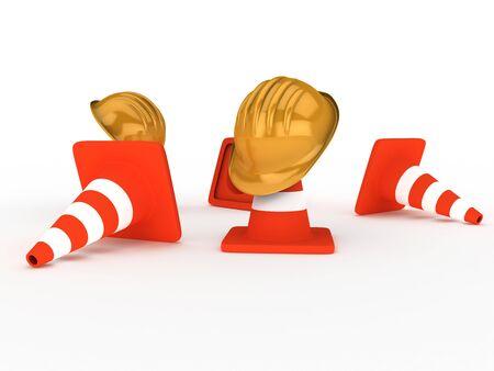 Two orange hardhat and fallen striped cones Stock Photo - 4226448