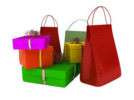 Colore sacchetti, shopping e regali isolato su sfondo bianco Archivio Fotografico