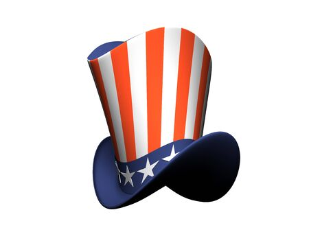 cartoon hat: Cartoon Hat with American flag isolated on white background