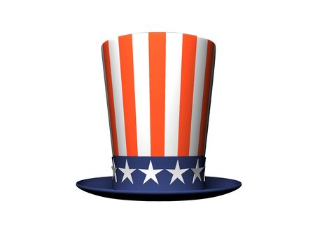 uncle: Cartoon Hat with American flag isolated on white background