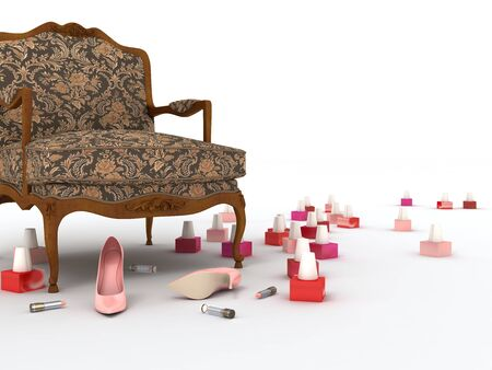 Armchair, pink shoes, colour lipstick and varnish on light background Stock Photo