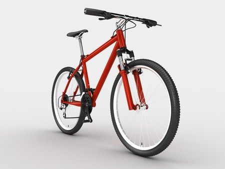 Red sport bicycle. Isolated on light background