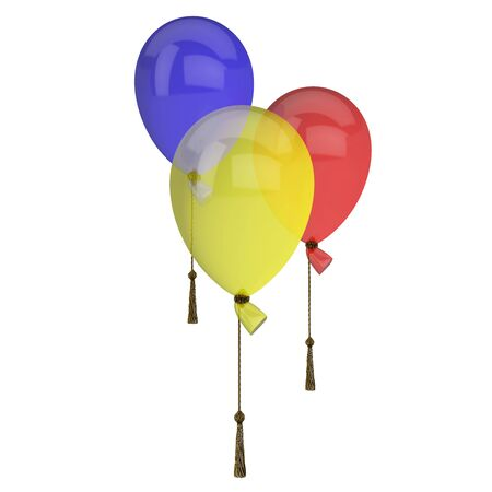 Many colour balloons isolated on white background photo