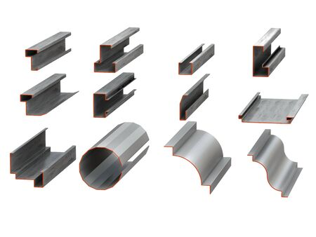 Group metal profiles isolated on white background Stock Photo