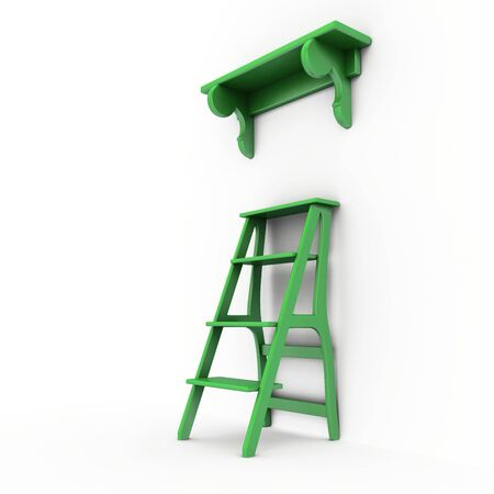 Green stairs and bookshelf around the walls. Isolated on white background.