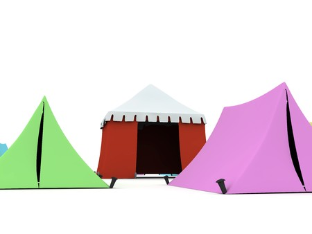 Several colored tents isolated on light background.