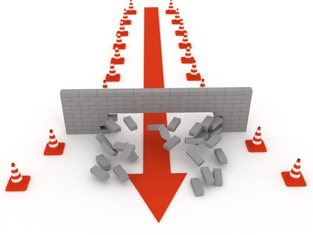 Overcoming obstacles. The destruction of brick wall Stock Photo