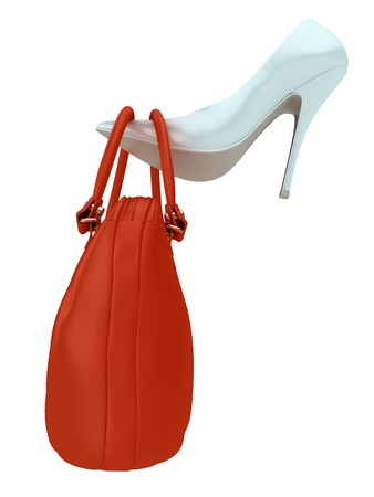 Womens bag put on womens shoe. Isolated on white.