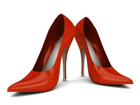 Due donne scarpe rosso isolato su bianco Archivio Fotografico
