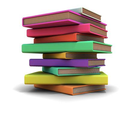 Piramide dei manichini libri. Su sfondo bianco.