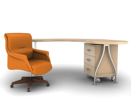 worktable: Office chair with worktable on white background