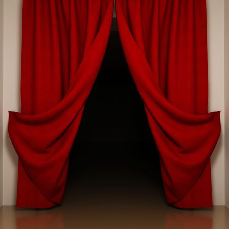 Red curtains with open-angle. View to dark room