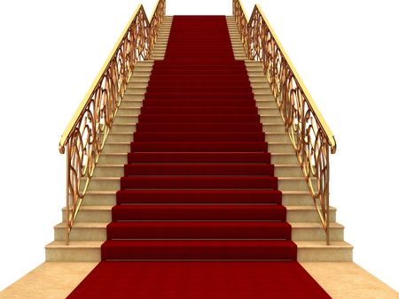 staircases: Flights of stairs with railings and carpet