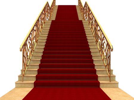 stair: Vluchten van trappen met leuningen en tapijt Stockfoto