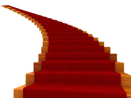 Spiral staircase with a carpet. Isolated on white Stock Photo