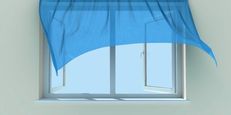 window curtains: Window and a blue curtain, raised by wind