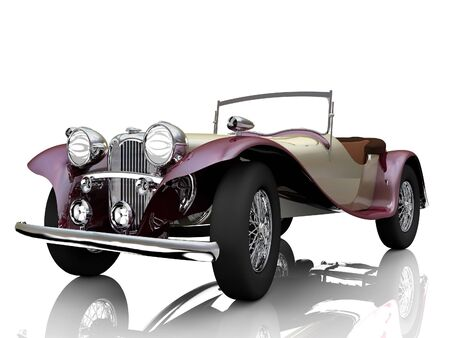Old car. 3d render. Isolated on mirror plane