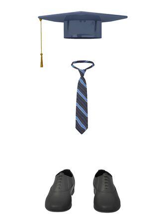 baccalaureate: Model student clothing. Isolated on white background