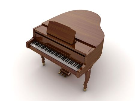 Brown grand piano isolated on light background Stock Photo