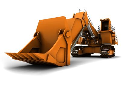 Larger orange digger isolated on white background Stock Photo - 4787522