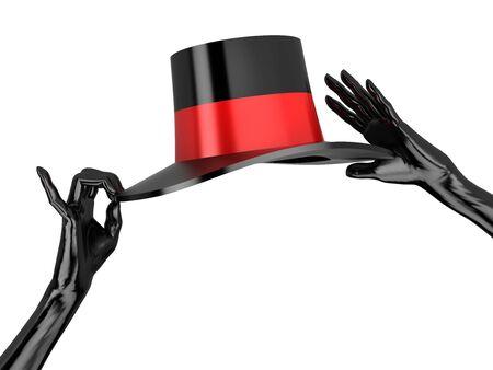 Donna cappello e guanti neri di cabaret. Isolato su bianco.